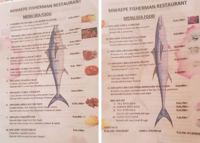 Меню рыбного ресторана на пляже Диани