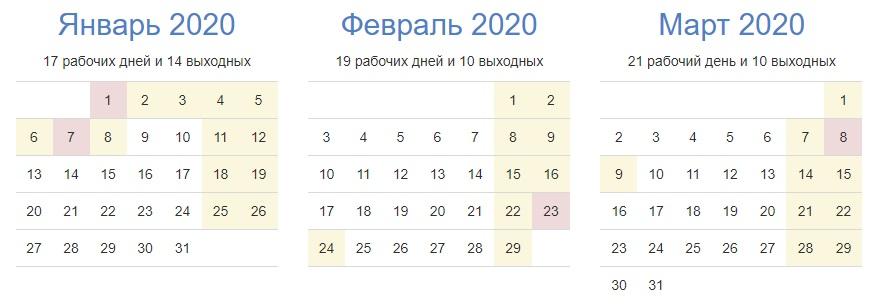 Выходные дни в январе 2020 года