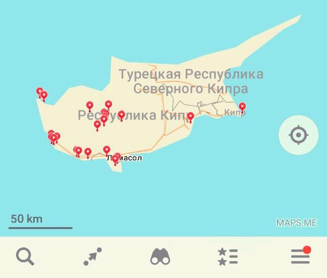 Карта интересных мест на Кипре