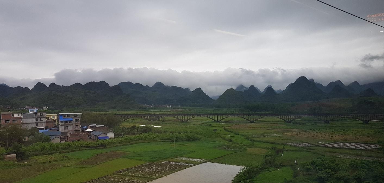 Вид из поезда Гуанчжоу - Яншо
