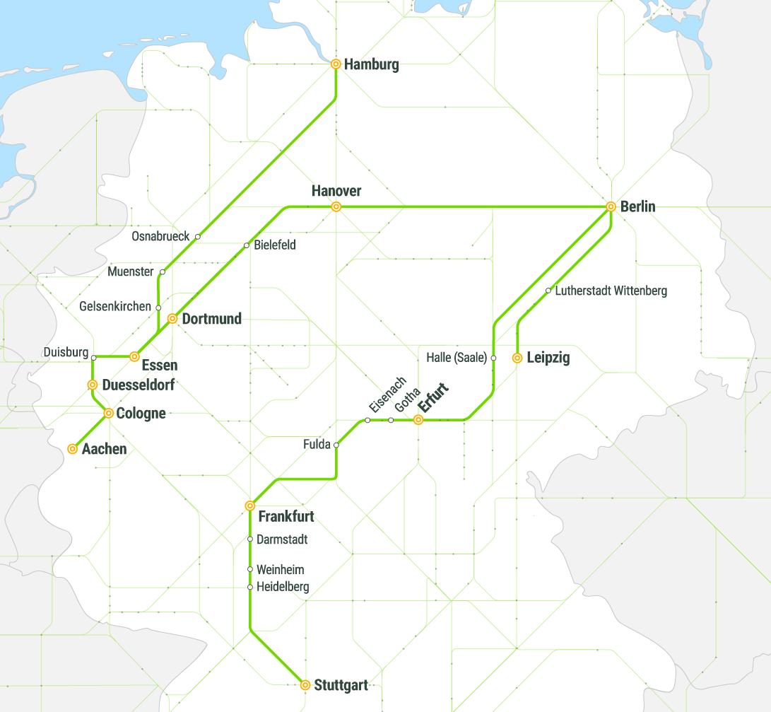 Маршрутная сеть Flixtrain