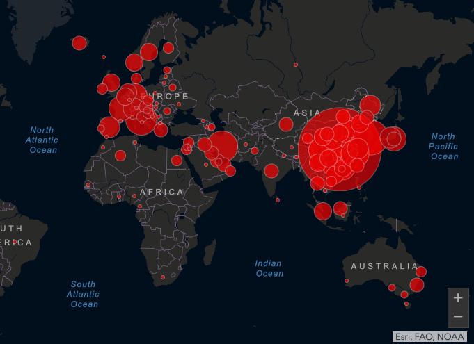 Карта распространения короновируса